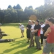 Practicing Golf golf during corporate team building event