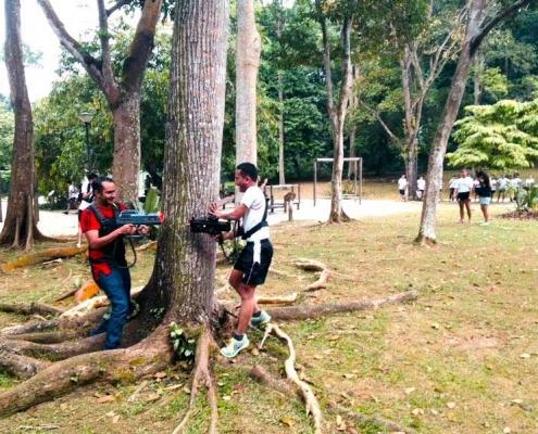 2 men playing laser teambuilding games